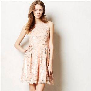 Anthropologie Eva Franco peach sequins Dress